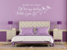 """Wall Quote """"What if I fall?"""" Cute Motivation Sticker Vinyl Decal Modern Transfer"""
